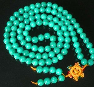 108 Tibet Dark Green Gemstone Stone 0.4inch Bead Necklace