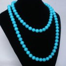 54inch Blue Gemstone 0.4inch Bead Long Necklace