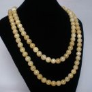 54inch Natural Light Yellow Gemstone 0.4inch Bead Long Necklace