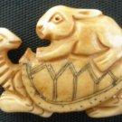 Tibet Yak Bone Carved Rabbit Coney Cony Lapin on Turtle IB03