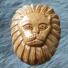 Tibet Yak bone vivid carved king of beast leo lion head Pendant IB018