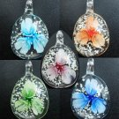 1pcs Glass Lampwork Hand Art Craft Colorful Cheap Flower Jewelry Pendant with Cord SC0107-111