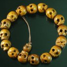 Natural Wood Skull Beads Buddhist Prayer Mala Bracelet DI74
