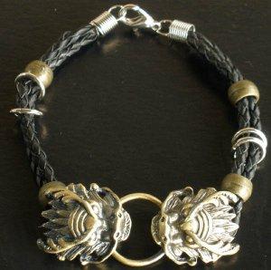 Alloy Zinic Brass Cool Male Men's Gift Ferocity Imperial Dragon Head Bracelet EJ2002