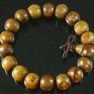 Carved Natural Wood Beads Buddhist Prayer Mala Bracelet DI711