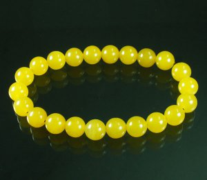 Tibet Yellow Jade Gemstone Beads Buddhist Mala Bracelet WZ224