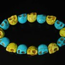 New Twin Color Turquoise Baby Blue Yellow Skull Bead Beads Stretch Bracelet for Men Women ZZ2245