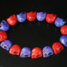 New Twin Color Turquoise Purple Red Skull Bead Beads Stretch Bracelet for Men Women ZZ2260