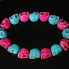 New Twin Color Turquoise Hot Pink Black Skull Bead Beads Stretch Bracelet for Men Women ZZ2264