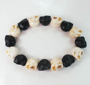 New Twin Color Turquoise Black White Skull Bead Beads Stretch Bracelet for Men Women ZZ2272