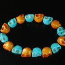 New Twin Color Turquoise Orange Baby Blue Skull Bead Beads Stretch Bracelet for Men Women ZZ2283