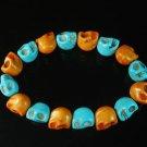 New Twin Color Turquoise Orange Baby Blue Skull Bead Beads Stretch Bracelet for Men Women ZZ2283