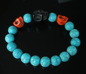 Turquoise Red Black Skull Bead Baby Blue Veins Ball Beads Stretch Bracelet for Men Women ZZ240