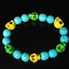 Turquoise Green Yellow Skull Beads Baby Blue Veins Ball Beads Stretch Bracelet for Men Women ZZ264