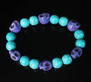 Turquoise Purple Skull Beads Baby Blue Veins Ball Beads Stretch Bracelet for Men Women ZZ272