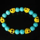 Turquoise Yellow Skull Beads Baby Blue Veins Ball Beads Stretch Bracelet for Men Women ZZ275