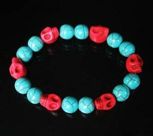 Turquoise Red Skull Beads Baby Blue Veins Ball Beads Stretch Bracelet for Men Women ZZ277
