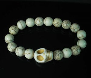 Turquoise Colorful White Skull Beads White Veins Ball Beads Stretch Bracelet ZZ2129