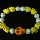 Turquoise Colorful Yellow Skull Beads White Veins Ball Beads Stretch Bracelet ZZ2162