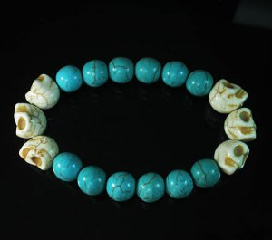Turquoise Colorful White Skull Beads Blue Veins Ball Beads Stretch Bracelet ZZ2181