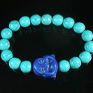 Turquoise Purple-Blue Smile Buddha Bead Blue Veins Ball Beads Stretch Bracelet ZZ2292