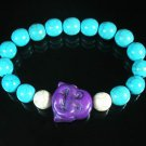 Turquoise Purple Smile Buddha Bead Blue White Veins Ball Beads Stretch Bracelet ZZ2305