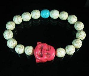 Turquoise Pink Smile Buddha Bead Blue White Veins Ball Beads Stretch Bracelet ZZ2318