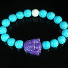 Turquoise Purple Smile Buddha Bead Blue White Veins Ball Beads Stretch Bracelet ZZ2322