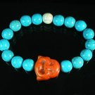 Turquoise Orange Smile Buddha Bead Blue White Veins Ball Beads Stretch Bracelet ZZ2325