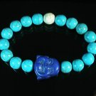 Turquoise Purple-Blue Smile Buddha Bead Blue White Veins Ball Beads Stretch Bracelet ZZ2326