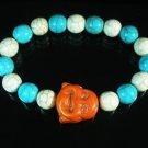 Turquoise Orange Smile Buddha Bead Blue White Veins Ball Beads Stretch Bracelet ZZ2330