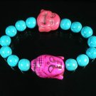 Turquoise Pink Buddha Bead Blue Veins Ball Beads Stretch Bracelet ZZ2355