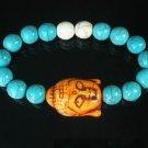 Turquoise Orange Buddha Bead White Blue Veins Ball Beads Stretch Bracelet ZZ2361