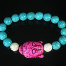 Turquoise Hot Pink Buddha Bead White Blue Veins Ball Beads Stretch Bracelet ZZ2376