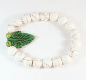 Turquoise Green Leaf White Veins Ball Beads Stretch Bracelet ZZ2404