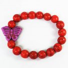 Turquoise Purple Butterfly Red Veins Ball Beads Stretch Bracelet ZZ2458