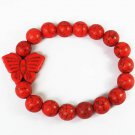 Turquoise Red Butterfly Red Veins Ball Beads Stretch Bracelet ZZ2462