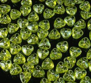 1000 pcs Wedding Dress Accessories Silvertone Dot Inlaid Yellow Resin Trigonal Beads Findings ZZ5124