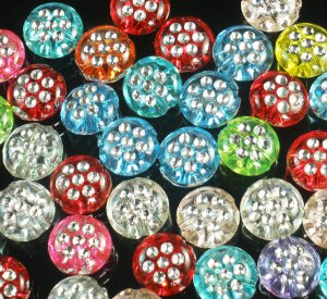 2400pcs Silvertone Point Inlaid 2 Sides Mixed Resin Beads Findings ZZ534