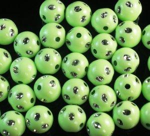 1800 pcs Silvertone Dot Inlaid Green Ball Resin Beads Findings ZZ551