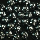 1800 pcs Silvertone Dot Inlaid Black Ball Resin Beads Findings ZZ554