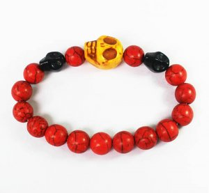 Turquoise Yellow Black Skull Bead Red Veins Ball Beads Stretch Bracelet ZZ2498