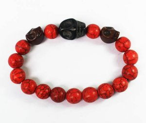 Turquoise Brown Black Skull Bead Red Veins Ball Beads Stretch Bracelet ZZ2513