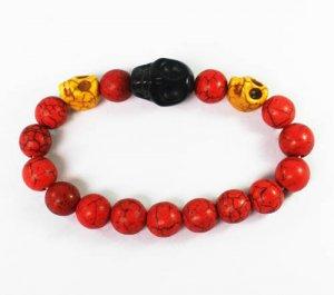 Turquoise Black Yellow Skull Bead Red Veins Ball Beads Stretch Bracelet ZZ2516