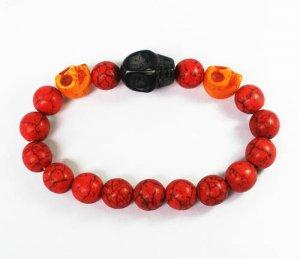 Turquoise Black Orange Skull Bead Red Veins Ball Beads Stretch Bracelet ZZ2520