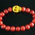 Turquoise Yellow Skull Bead Red Veins Ball Beads Stretch Bracelet ZZ2526