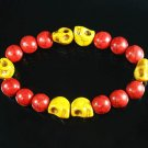 Turquoise Yellow Skull Bead Red Veins Ball Beads Stretch Bracelet ZZ2566