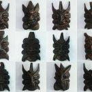 12 pcs Hand carved wood chinese guizhou fengshui black folk art mask DZ8