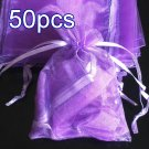 50pcs Lilac Purple 2.7x3.5inch(7x9cm) Organza Bag Pouch for Gift Jewelry Solid Color