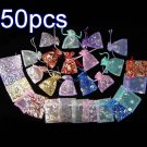 50pcs Mixed 2.7x3.5inch(7x9cm) Organza Bags Pouch for Gift Jewelry Random Design